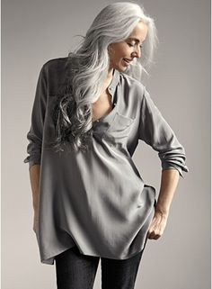 platinum hair, gray clothing. beautiful.