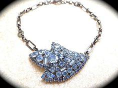 Large Blue Rhinestone brooch Necklace UniqueBridal Wedding