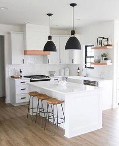 24 Beautiful White Kitchen Design Ideas And Decor. If you are looking for White Kitchen Design Ideas And Decor, You come to the right place. Below are the White Kitchen Design Ideas And Decor. This p. Home Decor Kitchen, Kitchen Design Small, Contemporary Kitchen, Home Kitchens, Modern Kitchen Design, Kitchen Style, Modern Farmhouse Kitchens, Kitchen Renovation, White Kitchen Design