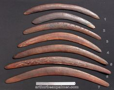 Aboriginal-engraved-boomerangs, Hooked Fighting Boomerang