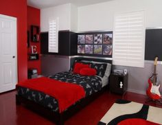 Bedroom Ideas Red And Grey red and gray bedroom | went with a black and red colour scheme as