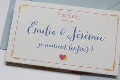 Faire-part de mariage Emilie & Jérémie. Atelier Etcetera (Paris) Plus de photos par ici : http://www.atelier-etcetera.com/portfolio/faire-part-mariage-ej/