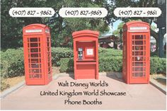 Phone numbers for the booths at Epcot Center.