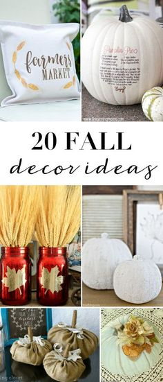 If you're looking for fall decor inspiration, this collection of 20 ideas has you covered. So many cute projects to choose from! #fall #falldecor #home Thanksgiving Celebration, Thanksgiving Decorations, Fall Decorations, Thanksgiving Holiday, Thanksgiving Recipes, Seasonal Decor, Christmas, Fall Crafts, Halloween Crafts