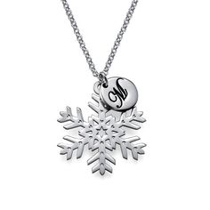 Cut Out Snowflake Necklace with Initial Pendant   MyNameNecklace