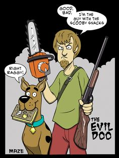 Scooby-Doo and Shaggy vs the Evil Dead Best Horror Movies, Scary Movies, Bruce Campbell Evil Dead, Evil Dead Movies, Ash Evil Dead, Scooby Snacks, Cartoon Clip, Cartoon Crossovers, Famous Monsters