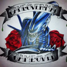 Drawing of xenomorph featured in the Alien movies with roses - tattoo design Game over man, game over Alien Tattoo, Weird Tattoos, Rose Tattoos, Game Over Man, Aliens Movie, Xenomorph, Tattoo Designs, Tattoo Ideas, Game Design