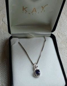 "Stunning Blue Sapphire Necklace Women's Oval Stone Sterling Silver 18"" New Gift #Kayjewelers #Pendant"