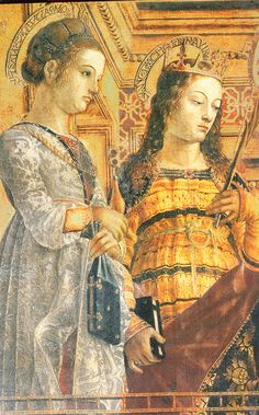 Saint Lucy is holding a girdle book, which was bound with an extension of the cover that allowed the book to be tucked under one's belt. She is a figure from the Saint Martin Altarpiece, painted about 1485, by Butinone and Zenale in Treviglio, Italy.