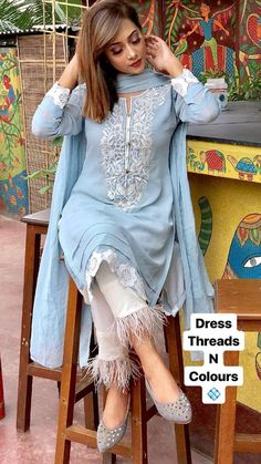 Indian kurta dress With Pent Dupatta Tunic Set blouse Combo Ethnic Bottom - Designer Dresses Couture Pakistani Fashion Casual, Pakistani Dresses Casual, Pakistani Dress Design, Indian Fashion, Kurta Designs Women, Salwar Designs, Designs For Dresses, Dress Neck Designs, Dress Indian Style