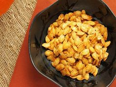 Next time you carve or cook fresh pumpkins, try making these roasted pumpkin seeds from Food.com.