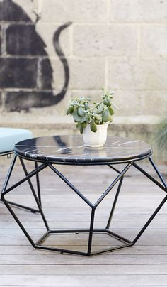 Marble and metal coffee table in geometric design