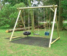 kids swing set out of landscape timbers Kids Backyard Playground, Backyard Swings, Backyard For Kids, Wooden Swing Frame, Wooden Swings, Swing Set Plans, Swing Sets, Kids Play Equipment, Diy Swing