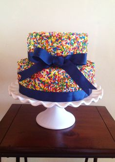 But a pink ribbon! Sprinkle Cakes, Cupcake Cakes, Cupcakes, Yummy Treats, Cake Ideas, Party Planning, Confetti, Sprinkles, First Birthdays