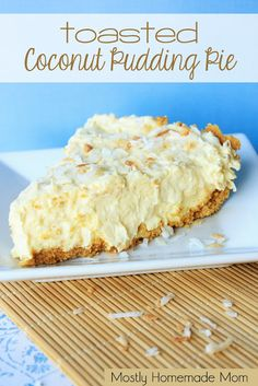 Toasted Coconut Pudding Pie featured at Thursday's Treasures Link Party