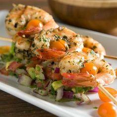 Grilled Cumin Prawns with Avocado Salsa