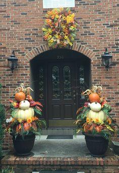 Fall topiaries & a deco mesh wreath!