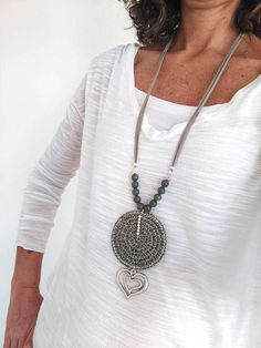 Sautoir boheme chic, Long circle pendant, beaded and love charm, Necklaces for women Long pendant Crochet for mom Modern Gray Geometric - Valentine's Day Long Pendant Necklace, Pearl Pendant, Love Charms, Butterfly Necklace, Bijoux Diy, Fabric Jewelry, Crochet Accessories, Valentine Day Gifts, Valentines