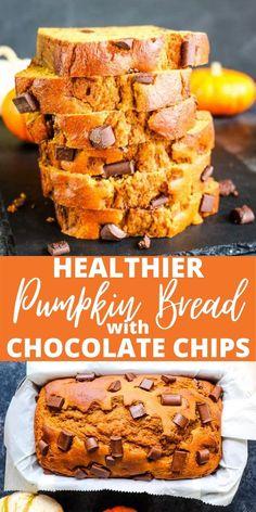 Best Pumpkin Bread Recipe, Healthy Pumpkin Bread, Savory Pumpkin Recipes, Healthy Pumpkin Desserts, Easy Healthy Bread Recipe, Healthy Sweets, Healthy Baking, Monkey Bread, Chocolate Pumpkin Bread