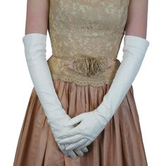 Long White Italian Leather Gloves, Silk Lined, Elbow Length for Opera | Solo Classe