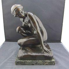 """alte Bronzefigur """"kniende Frau"""" Gladenbeck Berlin Friedrichshagen H.Missfeldt"""