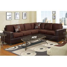 Madison Modern Microfiber And Faux Leather Sectional Sofa Hazelnut Tan Fabric Find This Pin More On Big Lots Furniture