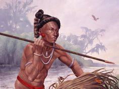 Morning Hunt. In the misty morning hours a Tocobaga tribesman stalks his prey. The intricate tattoos indicate his tribal affiliation. The Tocobaga people around Tampa Bay fished, hunted and gathered food from their rich environment...Florida Lost Tribes by Theodore Morris