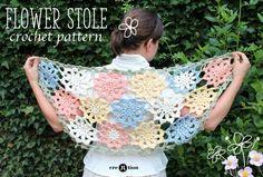 Flower stole #crochet pattern for sale from creJJtion
