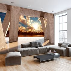 Removable mural with optical illusion. Removable mural with optical illusion. 3d Wallpaper Living Room, Interior Wallpaper, Beach Wallpaper, Photo Wallpaper, Wall Wallpaper, Mediterranean Living Rooms, Mediterranean Decor, New York Tapete, Wall Murials
