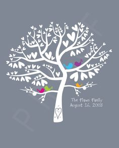 Wedding Love Birds Colour Pop Silhouette Family Tree - Personalized Birds in a Heart Tree 8x10 Print. $18.00, via Etsy.