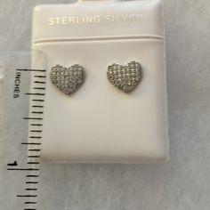 """Sterling silver heart earrings. Sterling silver heart earrings with """"bling"""".                Twist on backs.  Delicately beautiful. Price firm Jewelry Earrings"""