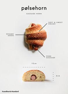 Every Danish Pastry You Need to Try in Copenhagen - Pølsehorn - Sausage Horn Food Graphic Design, Food Poster Design, Menu Design, Food Design, Design Design, Danish Dessert, Bakery Menu, Sweet Dough, Savory Pastry