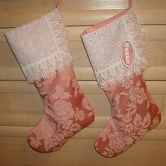 ONE Victorian Gorgeous Stocking from Pink Damask by MilaStyle