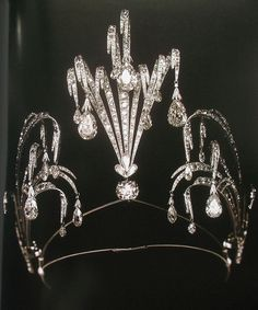 Tiara with diamond fountains, made in 1899, by Chaumet. Grand Duchess Maria Pavlovna often travelled to Paris, was the earnest fan of Chaumet's magical creations, and was his client till 1914. Total weight of diamonds in this fabulous piece of jewelry art is more than 75 carats. Presumably, this tiara was presented by Grand Duke Vladimir Alexandrovich to his wife, Grand Duchess Maria Pavlovna, on the occasion of their silver wedding anniversary.