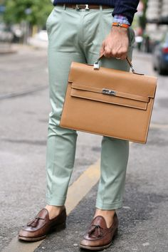 "hermès kelly Depeche and Santoni ""Roma"" Loafers by filippo fiora  via www.thethreef.com"