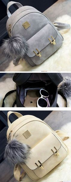 Fashion Frosted PU Zippered School Bag With Metal Lock Match Backpack for big sale ! #PU #school #fashion #bag #rucksack #backpack