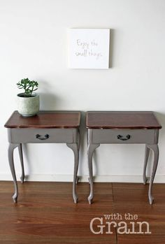 Queen Anne Style Bedside Tables in Winter Grey by WiththeGrainHome