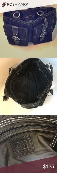 Must have everyday use Large black coach bag Like new Coach bag. Two outer pockets. Clean inside and out. Coach Bags Shoulder Bags