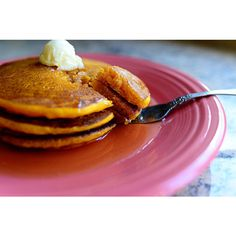 Silver Dollar Pumpkin Pancakes ❤ liked on Polyvore featuring food