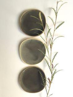 Ceramic Plate, Stoneware plate, Dessert Plate, Cake Plates,Green Plate, Organic serving plates , wabi sabi pottery, Ready to ship