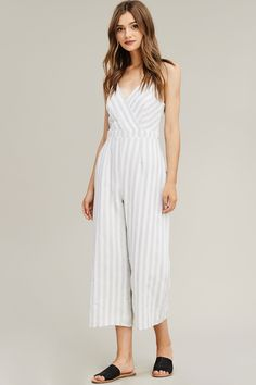 ed1f976b565 Gray and White Striped Jumpsuit Striped Jumpsuit
