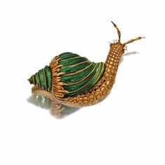 18 karat gold and enamel snail brooch ~ David Webb ~ Sotheby's
