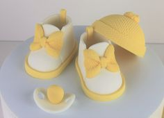 Yellow Baby Shoes Cake Topper Set for a Baby Shower: by CakeLouise