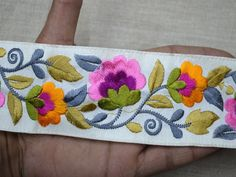 Festive costume yellow decorative silk sari border fabric trimming by 9 yard Indian laces embroidered floral saree ribbon embellishment table runner trims traditional boutique material trimming Online shop of embroidery trims and ribbon for bed spreads Diy Belts, Hand Embroidery Designs, Flower Embroidery, Sewing Trim, Boho Bags, Sewing Accessories, Ribbon Crafts, Silk Fabric, Handicraft