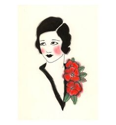 Art Deco fashion drawing  4 for 3 SALE Joan  4 X by matouenpeluche, $7.00http://www.pinterest.com/pin/393220611184669085/