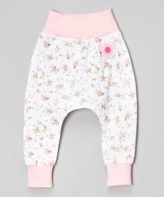 Loving this White & Pink Floral Crochet Flower Harem Pants - Infant & Toddler on #zulily! #zulilyfinds