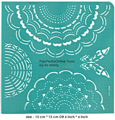 "Stencil Stencils Pattern Template ""Doily"" 6 inch/15 cm, reusable, adhesive, flexible, for polymer clay, fabric, wood, glass, card making"