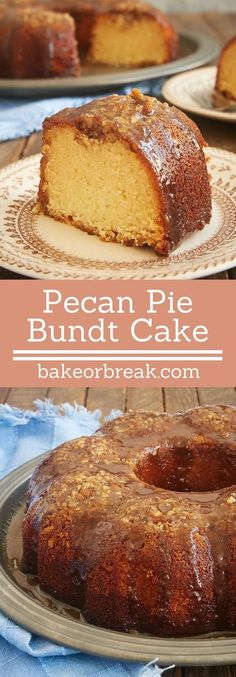 Pecan Pie Bundt Cake takes the flavors of the classic pie and packs them into a simple, delicious cake. This one is always a big, big hit! - Bake or Break No Bake Desserts, Just Desserts, Delicious Desserts, Dessert Recipes, Bunt Cakes, Cupcake Cakes, Cupcakes, Pound Cake Recipes, Pecan Pie Bundt Cake Recipe