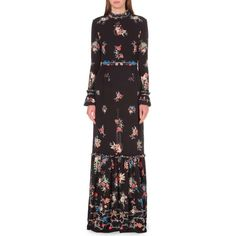 VILSHENKO Sinead floral-print silk maxi dress (£1,360) ❤ liked on Polyvore featuring dresses, purple long sleeve dress, maxi dresses, purple maxi dress, ruffle maxi dress and silk maxi dress