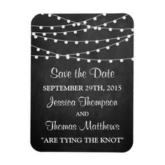 Chalkboard Wedding Save the Date The String Lights On Chalkboard Wedding Collection Rectangular Photo Magnet